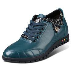 Green calf leather height casual shoes look taller 6cm / 2.36 inches