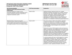 Comparison chart of key changes 2015 aha guidelines for cpr and ecc