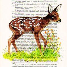 Little Deer ORIGINAL ARTWORK Mixed Media Hand by Cocodeparis, $10.00