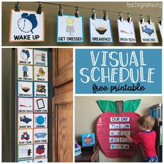 Visual Schedule for children - free printable Visual schedule cards for toddlers, preschoolers, and children with special needs. This free printable has 22 schedule cards that help children with routines. Visual Schedule Printable, Visual Schedule Preschool, Visual Schedule Autism, Classroom Schedule, Visual Schedules, Daily Schedules, Free Printables, Preschool Routine, Printable Cards