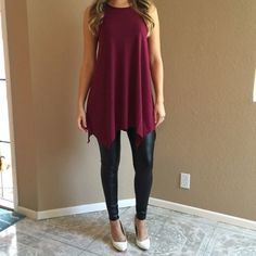 Burgundy Trapeze Sleeveless Tunic (LAST SMALL!) Burgundy Trapeze Sleeveless Tunic. Brand new. Never worn. Available in S-M-L. Model is wearing a small for reference. No Paypal. No trades. 15% discount on all 3+ item bundles made with the bundle feature. No offers will be considered unless you use the make me an offer feature.     👉 Please follow 📱 Instagram: BossyJoc3y 👠 Blog: www.bossyjocey.com Tops Tunics