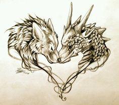 Tattoo design of wolf and dragon #dragon #tattoos #tattoo