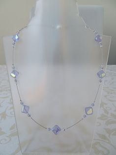 Ice blue square glass and crystal necklace by JewelInfinityBeyond