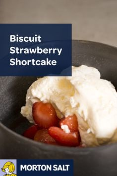 Biscuit Strawberry Shortcake recipe // Freshly brined strawberries and buttermilk biscuits topped with whipped cream is a sweet and savory end to a meal.