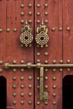 brass door knocker and lock - Meknes, Morocco