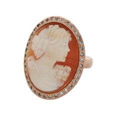 AMEDEO NYC Marisa in Capri 25mm Cornelian Cameo Rose Gold GP Ring Size 8 #AMEDEONYC #Cocktail hsn