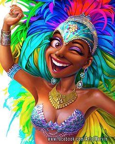 Carnival Queen by Mervin Kaunda on ArtStation. Black Love Art, Black Girl Art, My Black Is Beautiful, Black Girls Rock, Art Girl, African American Art, African Art, Arte Black, Natural Hair Art