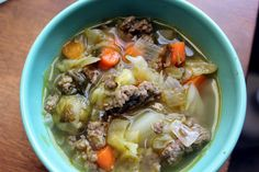 Quick and easy sausage cabbage soup.  I happen to have everything I need to make this in the fridge right now (including homemade chicken stock)!
