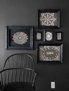 Doiley wall art - this is  something I could do with Nanna & Grandma's doilies
