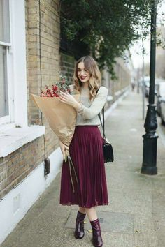 in case you couldn't tell, i love these pleated skirts. love the color of this one.
