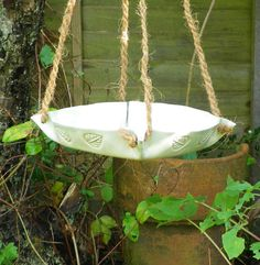 Lucky birds....Bird feeder or bath in stoneware fully weatherproof