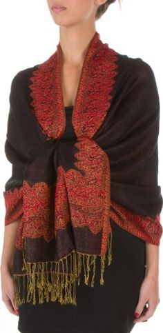"""70"""" x 28"""" Border Pattern Double Layer Woven Pashmina Feel Shawl / Wrap / Stole - Black / Red - http://www.cheaptohome.co.uk/70-x-28-border-pattern-double-layer-woven-pashmina-feel-shawl-wrap-stole-black-red/?utm_source=PN&utm_medium=Manasak&utm_campaign=SNAP%2Bfrom%2BBestseller  70″ x 28″ Border Pattern Double Layer Woven Pashmina Feel Shawl / Wrap / Stole – Black / Red Short Description Incredibly soft double layer pashmina feel scarves are an affordable l"""