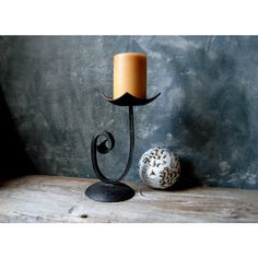 Modern Wrought Iron Candle Holder Vintage Hand Forged Metal Candle... ($45) ❤ liked on Polyvore featuring home, home decor, candles & candleholders, wrought iron home decor, metal candlestick holders, metal candle holders, wrought iron candle holders and metal home decor