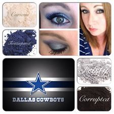 Dallas Cowboys inspired look. created using Younique mineral pigments. www.youniqueproducts.com/SabrinaDrew Show your team spirit and create your game day face using Younique pigment. Finish the look with 3D FIber lash Mascara. #makeup #teamspirit