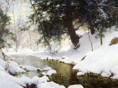 Landscape painting Snow - November Snow by Walter Launt Palmer Hand Painted Oil Painting. Painting Snow, Winter Painting, Winter Art, Watercolor Landscape, Landscape Art, Landscape Paintings, Snow Scenes, Winter Scenes, Winter Landscape