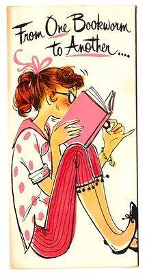 Vintage Greeting Card Girl 1960's Eyeglasses Bookworm Birthday G110 | eBay