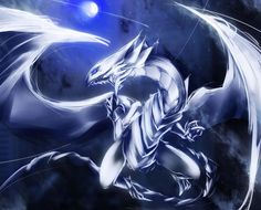 blue eyes white dragon moonlight artwork