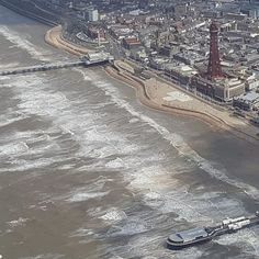 Jeremy Oki took this photo on the morning of 2 July from 1500ft (457.2m) while on a training flight from Blackpool Airport  #englandsbigpicture #bigpicture #england #photooftheday #picoftheday #blackpool #seafront #blackpooltower #flying #summer