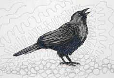 """Crow"" 4x6""donated hand-painted, machine quilted  fiberart card by Pat Dolan"