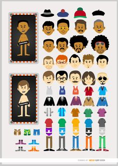 different skin color, head, and clothes. Make your character and use it as avatar, in campaigns or promos, or in any way you want. High quality JPG included. Under Commons 4.0. Attribution License.