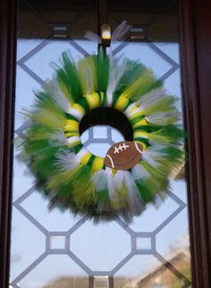 Tulle Wreath-Football-Made to by ThisAndThatsCrafty on Etsy
