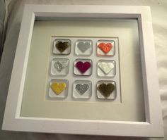 Hearts Picture Art. Nine handmade fused glass by MYHEARTOFGLASS