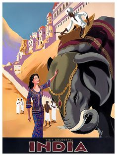 Travel Art India Poster Vintage Elephant Print by Blivingstons Retro Poster, Vintage Travel Posters, Vintage Postcards, Kunst Poster, Poster Art, Poster Prints, Vintage India, India Poster, Poster Online