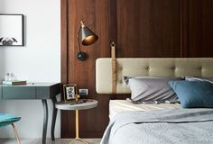 An interesting idea - strap your headboard to the wall instead of attaching it to your bed frame. Gallery of Scenic Ballade / HAO Design - 11