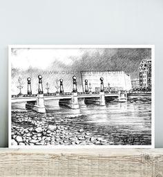 Lámina Puente Kursaal. Donostia - San Sebastián - Gipuzkoa. Cuadros Terry. Un buen recuerdo de San Sebastián como pieza de decoración.
