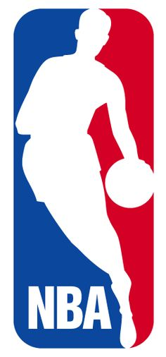 National Basketball Association Primary Logo (1972) - Sillouette of Jerry West in white on a red and blue box