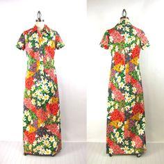 Vintage shirtwaist maxi dress  daisy patchwork by RecentHistory, $65.00