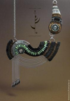 Купить Шейные украшения Нить Ариадны - шейное украшение, ожерелье, Вышивка бисером, смешанная техника