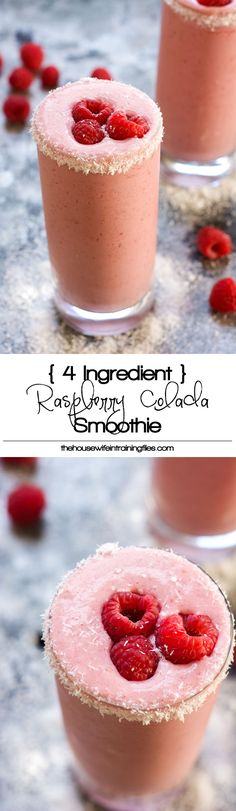 Fruity and tropical, this 4 Ingredient Raspberry Colada Smoothie is healthy, full of tart raspberries, coconut and protein for an island inspired breakfast or snack! #smoothie #pinacolada #proteinshake #healthy