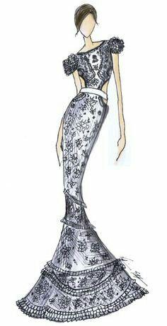 fashion illustration / embroidery dress  | ♦F&I♦