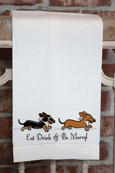 Dachshund Eat Drink & Be Merry Kitchen Dish Towels by whatsupdox