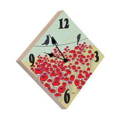 Artist Shanni Welsh's Black Birds and Poppies wood wall clock. Crows and poppies wall décor. Bird décor. Bird Print. Nature clock. Poppy home décor. Crow décor.