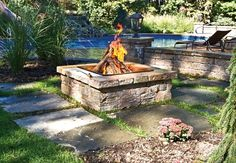 Fire Pit in Cast Veneer Stone, Ledgestone  LandscapeDesignByAmanda.com