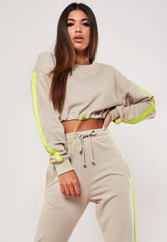 Stone Co Ord Cropped Sports Stripe Sweatshirt . Order today & shop it like it's hot at Missguided. Athleisure Outfits, Sporty Outfits, Classy Outfits, Trendy Outfits, Girl Outfits, Cute Outfits, Fashion Outfits, Matching Top And Skirt, Trendy Hoodies