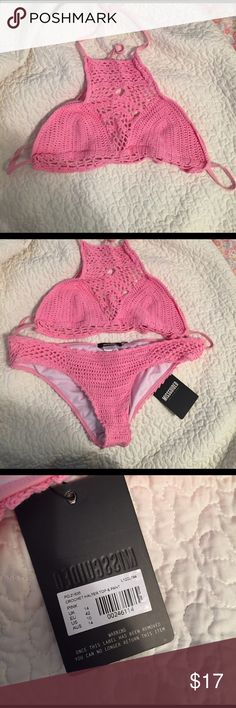 Pink Crochet Halter Bikini Top A brand new never worn crochet bikini top from MISSGUIDED. Can be bundled with bottoms or bought seperately Missguided Swim Bikinis
