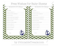 Dark Olive Green Chevron  Nautical Wishes for Baby Sheets