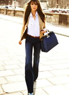 love the boot cut pant with the pulled together shirt and blazer