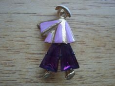 Vintage Enamel and Rhinestone Figure Brooch Pin