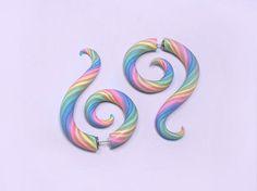 Pastel Rainbow Stripe Faux Gauge Earrings by TechnicolorCafe