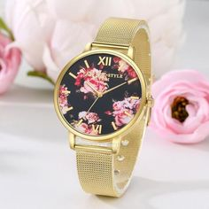 FROM USA Fashion Womens Quartz Gold Band Black Dial w/ Roses / Flowers Watch Stainless Steel Mesh Band Analog Quartz Wrist Watches Wristwatch Retail Value !75.00 . Starting at $1