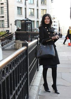 FashionWallStreet - Neema Pattni  Seen on Farringdon Street, London, EC4  Coat from Mango  Bag from Prada    www.fashionwallstreet.com