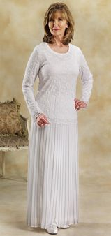 White pleated georgette skirt. - White Elegance - Makers of LDS Temple Clothes, Temple Dresses, Pioneer Costumes and more