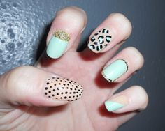 Mint Nude and Gold Glitter!!! Nail art!!!