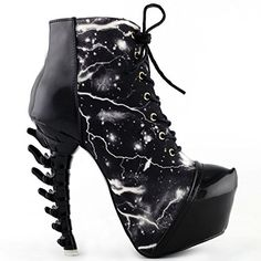 Show Story Black Punk Lace-Up High-top Bone High Heel Platform Ankle Boots, LF80621BK39, 8US, Black -  List Price:	$79.99  Sale Price:	$36.99