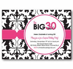Birthday Party Invitation - Playful Damask BIG One Adult Milestone Anniversary  Examples shown in black and white with cerise pink, caribbean blue, kiwi green and royal purple.