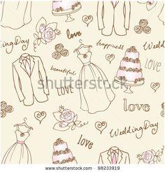 Wedding Doodles Sketchy Seamless Vector - 98233919 : Shutterstock